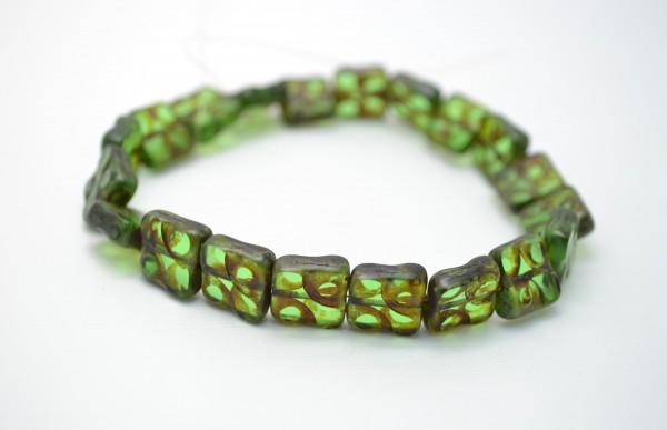 5 hochwertige tschechische Glasperlen Quadrat grün 5 mm