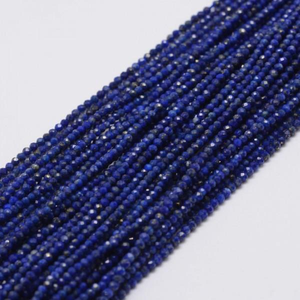 Natürlicher zierlicher facettierter Lapislazuli Perlenstrang 2 mm (ca. 197 Perlen / ca. 40 cm Länge)