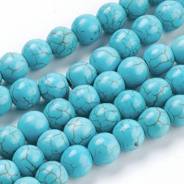 50 synthetische Türkisperlen 8 mm seegrün (entspricht einem Strang von 38 cm Länge)