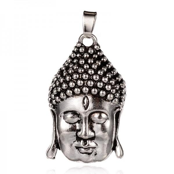 Großer Buddha Kopf Anhänger aus Metall antik silberfarben 39 x 23 x 10 mm