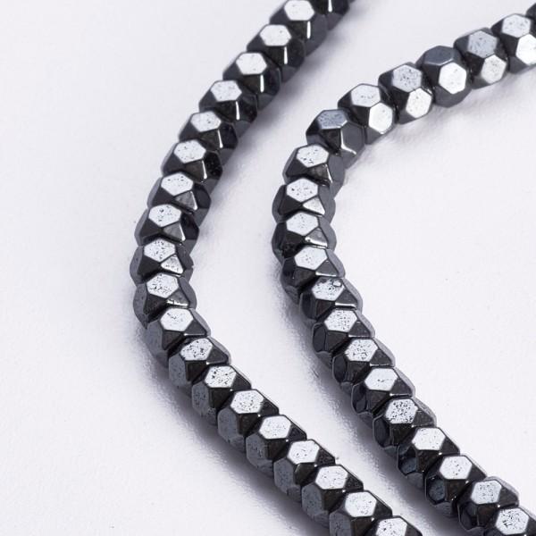Synthetischer nicht magnetischer Hämatit Perlenstrang 3 x 2 mm (ca. 82 Perlen / ca. 40 cm Länge)