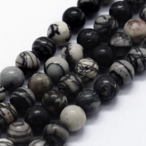 Natürlicher schwarz weißer Naturstein Perlenstrang rund glatt 4 mm (ca. 95 Perlen / ca. 37,5 cm Läng