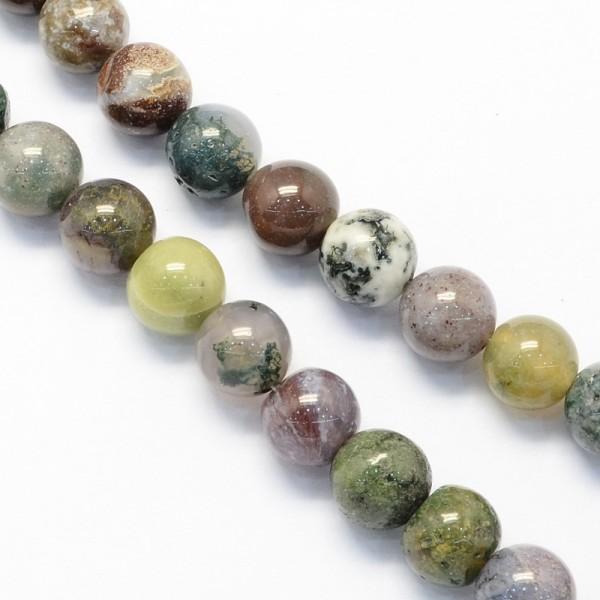 Natürlicher indischer Achatperlenstrang rund glatt glänzend 6 mm (ca. 63 Perlen / ca. 39 cm Länge)