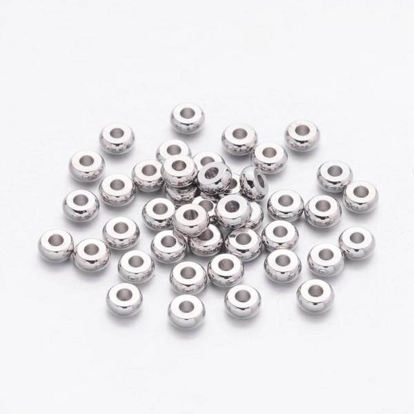 15 Metallperlen Zwischenperlen Spacer 4 x 1,6 mm platinfarben