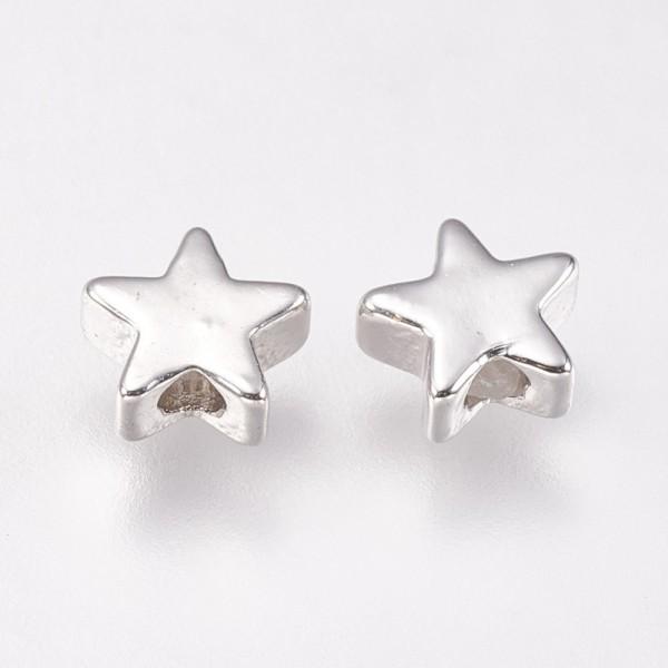 10 Perlen Stern platinfarben