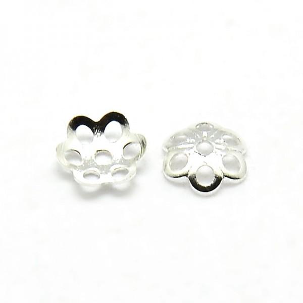 30 Perlkappen kleine Blume platinfarben 5 x 1 mm