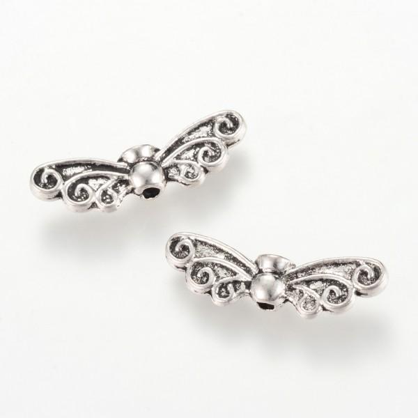 20 Engelsflügel Metall Perlen Flügel Schutzengel antik silberfarben 7 x 22 x 4 mm