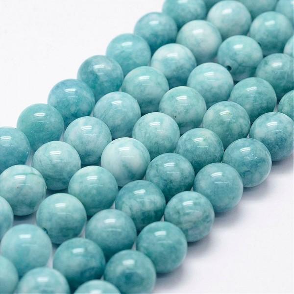 Jadeperlen gefärbt rund glatt glänzend 6 mm (ca. 64 Perlen / ca. 39 cm Länge)