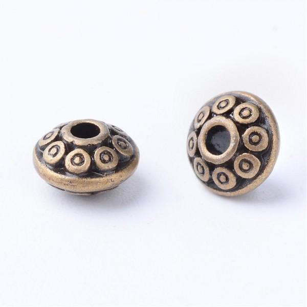 25 tibetische Zwischenperlen Spacer antik bronzefarben 7 x 4 mm