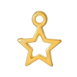 5 Charm Anhänger Stern goldfarben