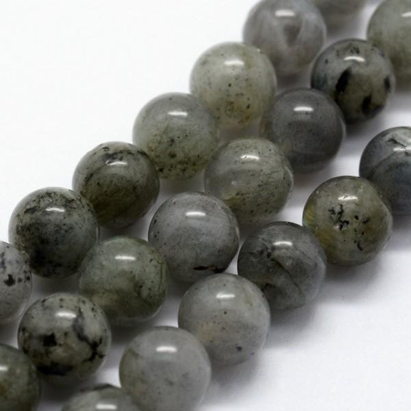 Natürlicher Labradorit Perlenstrang glatt glänzend 6 mm (ca. 61 Perlen / ca. 37,5 cm Länge)