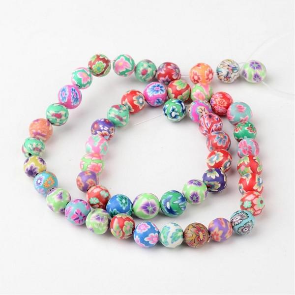 50 Polymer Perlen mit Blumen Muster 8 mm (entspricht einem Strang 38 cm lang)