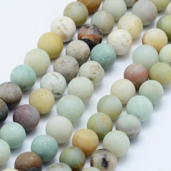 Natürlicher Amazonit Perlenstrang matt rund 6 mm (ca. 63 Perlen / ca. 39 cm Länge)