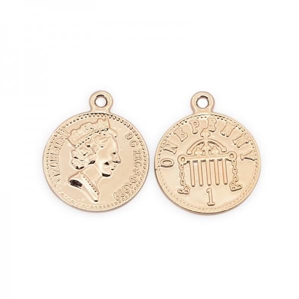Charm Anhänger Münze hell goldfarben