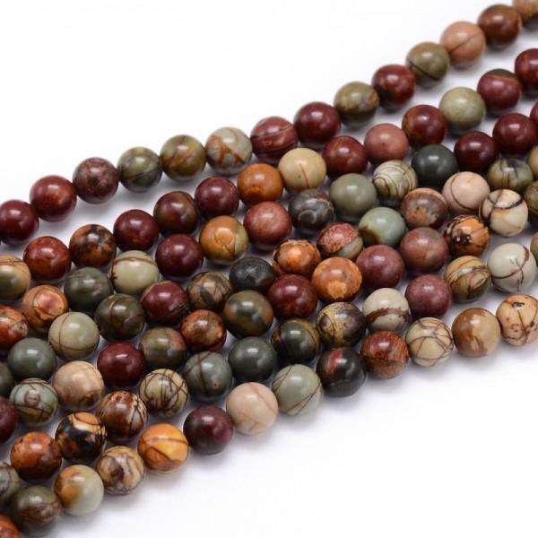 Natürlicher Picasso Jaspis Perlenstrang rund glatt 4 mm (ca. 92 Perlen / ca. 40 cm Länge)