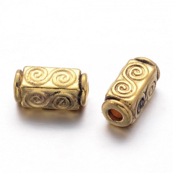 20 tibetische Metallperlen Spacer 5 mm Durchmesser 10,5 mm Länge antik goldfarben