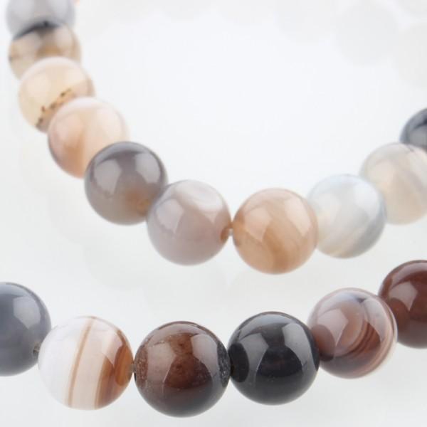 Natürlicher Botswana Achat Perlenstrang rund glatt 8 mm (ca. 49 Perlen / ca. 36,5 cm Länge)