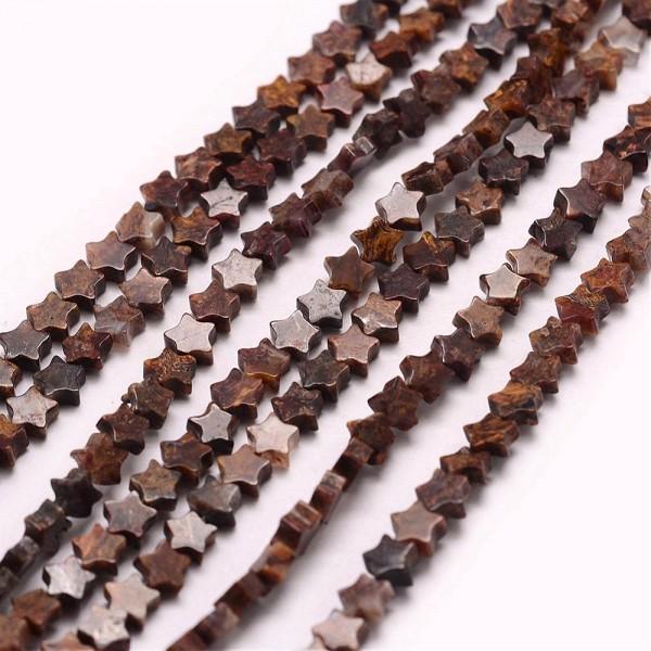 20 zierliche Achat Perlen Stern braun 4 x 4 x 2 mm