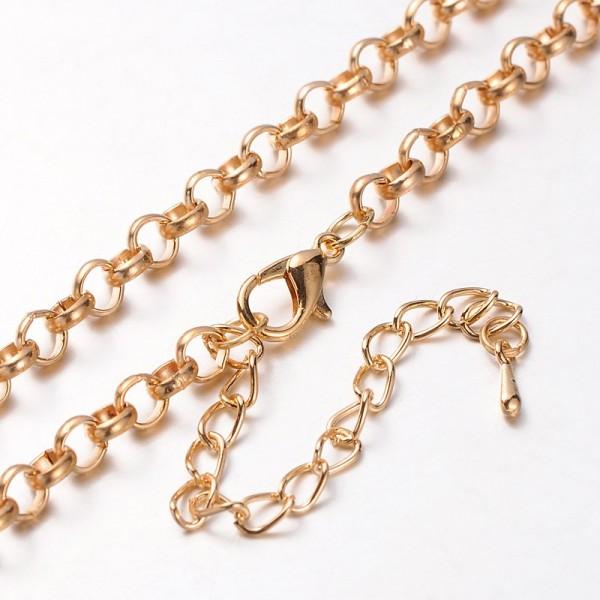 Halskette aus Eisen mit Aluminium Karabinerverschlluß goldfarben 41 cm Länge (Gesamtlänge 82 cm)
