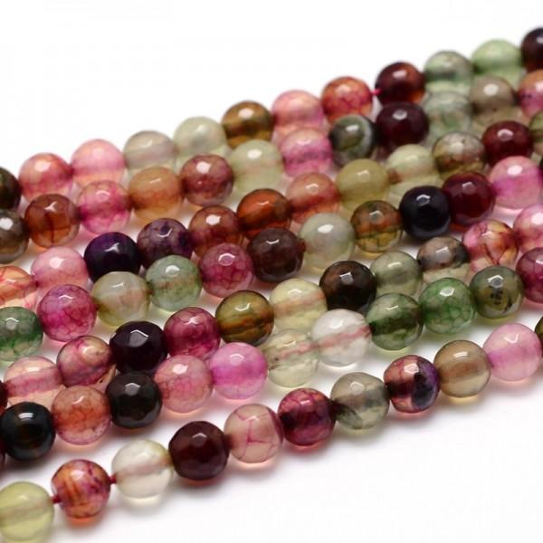 Achat Perlenstrang facettiert gefärbt 4 mm Farbmix (ca. 90 Perlen / ca. 37 cm Länge)