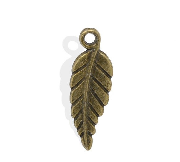 10 Charm Anhänger Blatt bronzefarben