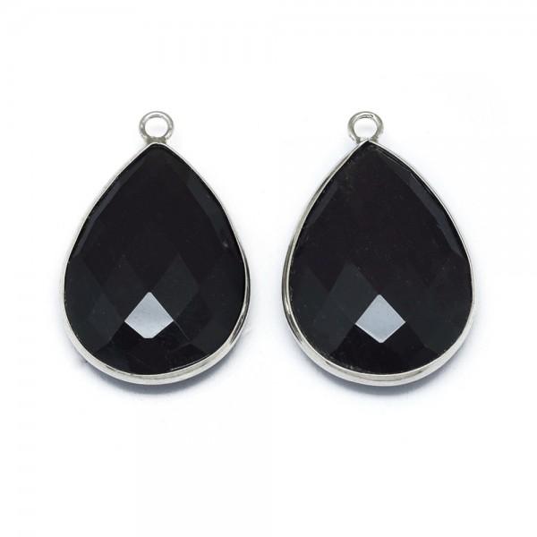 Natürlicher Obsidian Anhänger mit Metalleinfassung facettiert 30 x 19 x 6,5 mm