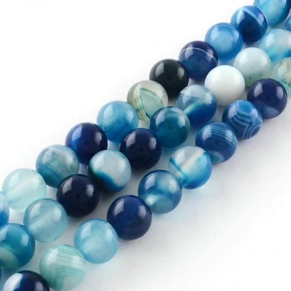 Gestreifter Achatperlenstrang rund blau gefärbt 8 mm (ca. 48 Perlen / ca. 37 cm Länge)