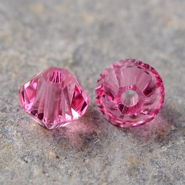 20 Österreichische Kristall Perlen rosa Doppelkegel 4 mm
