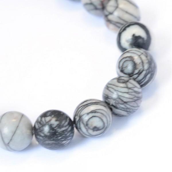 1 Strang Naturstein Perlen (ca. 45 Perlen / 38 cm lang)