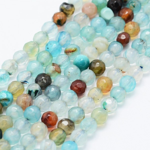 Achatperlen facettiert gefärbt Farbmix 4 mm (ca. 90 Perlen / ca. 37 cm Länge)