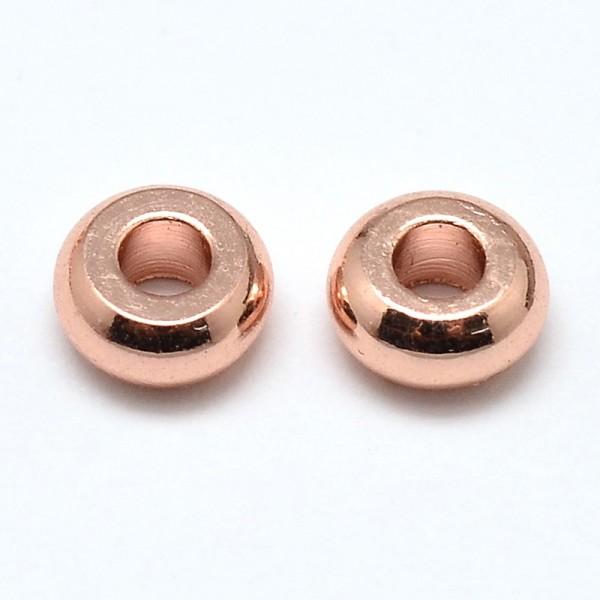 10 Flache runde Metallperlen roségold