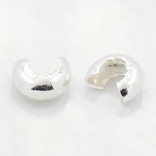 30 Kaschierperlen Abdeckungen silberfarben 4 mm