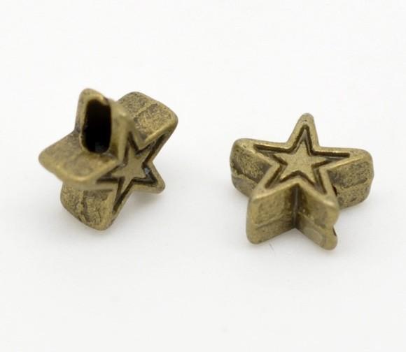 20 Zwischenperlen Stern bronzefarben
