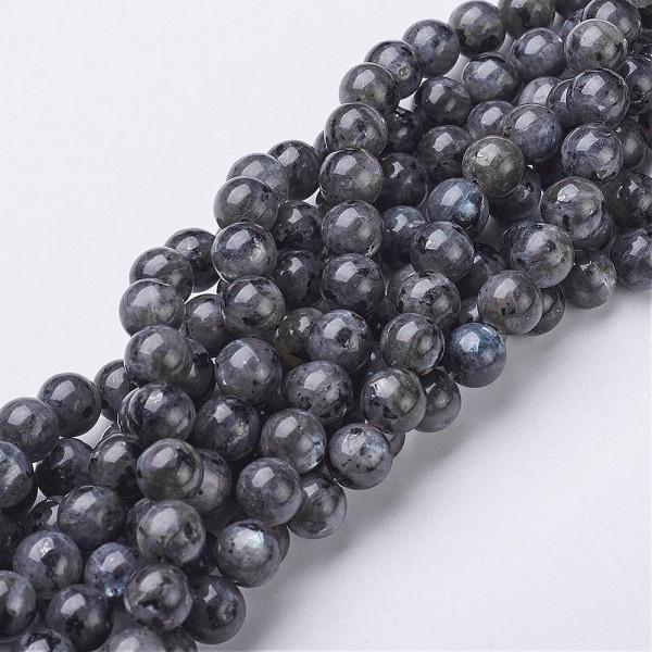 Natürlicher Labradorit Perlenstrang rund glatt ca. 8 mm (ca. 46 Perlen / ca. 38 cm Länge)