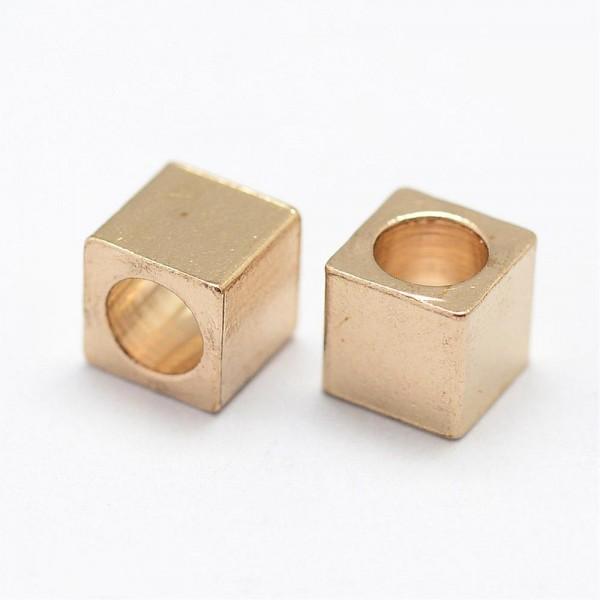 20 Metallperlen Würfel goldfarben 3 x 3 mm