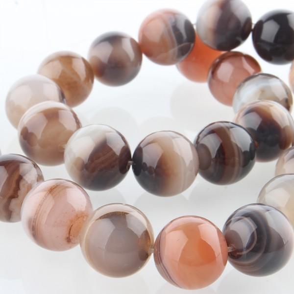 Natürlicher Botswana Achat Perlenstrang rund glatt 6 mm (ca. 63 Perlen / ca. 37 cm Länge)