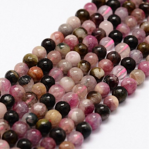Natürlicher Turmalin Perlen Strang rund glatt glänzend 4 - 5 mm (ca. 90 Perlen / ca. 40 cm Länge)