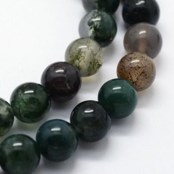5 Achatperlen grün braun 8 mm für Malakette