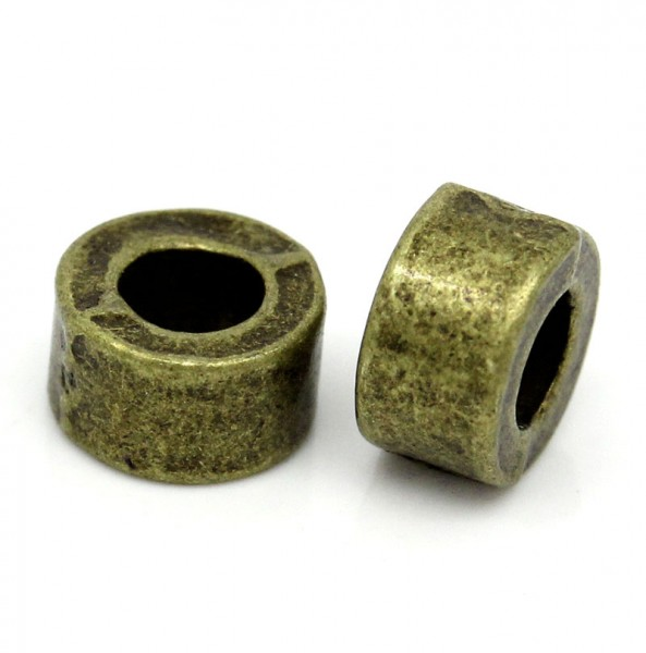 20 Metallperlen rund bronzefarben