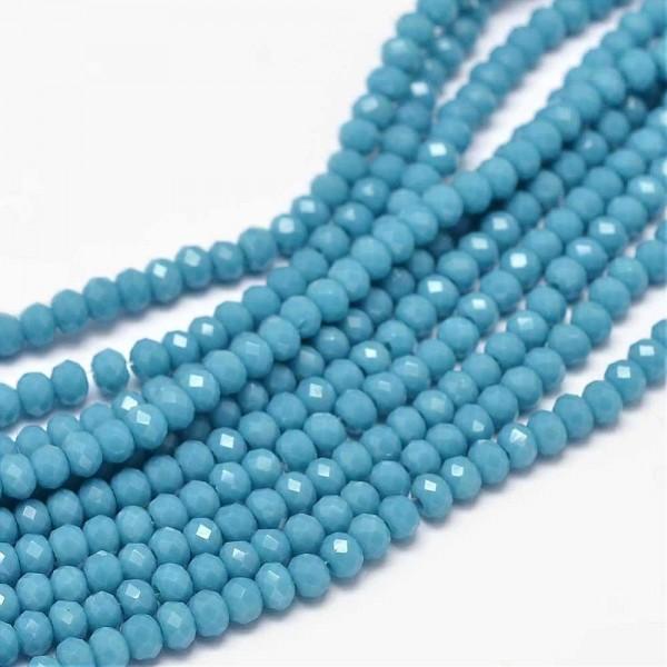 Glasperlenstrang facettiert stahlblau 3 x 2 mm (ca. 150 Perlen / ca. 39,5 cm Länge)