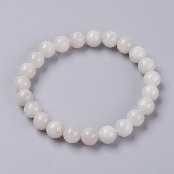 Natürliches Jadeperlen Stretch Armband glatt glänzend elfenbeifarben 6 mm Perlen