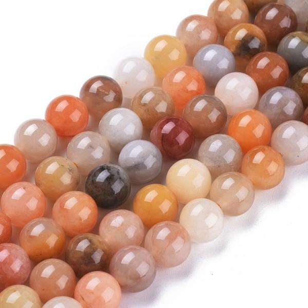 Natürlicher 8,5 mm Jadeperlenstrang rund glatt glänzend (ca. 47 Perlen / ca. 39 cm Länge)