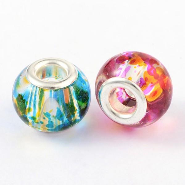 10 Großlochperlen Messing und Glas gemischte Farben
