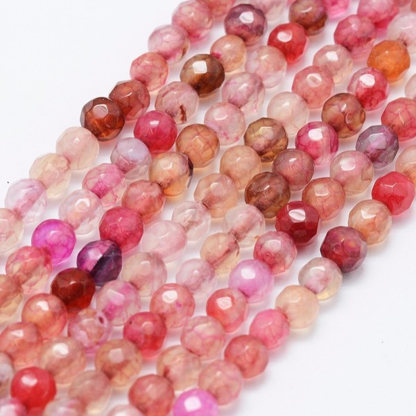 Achatperlenstrang facettiert gefärbt 4 mm rosa Farbmix (ca. 92 Perlen / ca. 37 cm Länge)