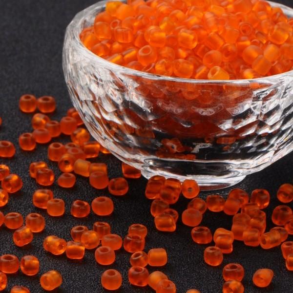 50 Gramm Runde Rocailles gefrostet orange
