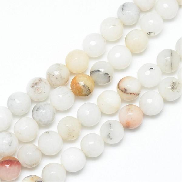 Natürlicher heller Achat Perlenstrang leicht facettiert rund glatt glänzend 6 mm (ca. 65 Perlen / ca