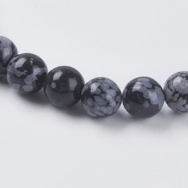 50 natürliche Obsidian Perlen schwarz rau rund glänzend 6 mm
