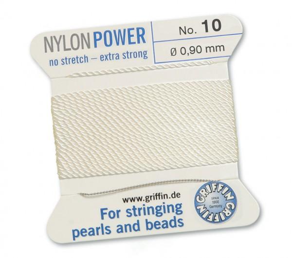 Griffin Perlseide Nylon Power weiß mit Nadel No. 10 Stärke 0,90 mm
