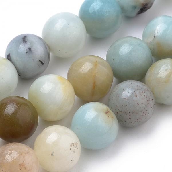Natürlicher Amazonit Perlenstrang glatt glänzend 6 mm ( ca.62 Perlen / ca. 39 cm Länge)