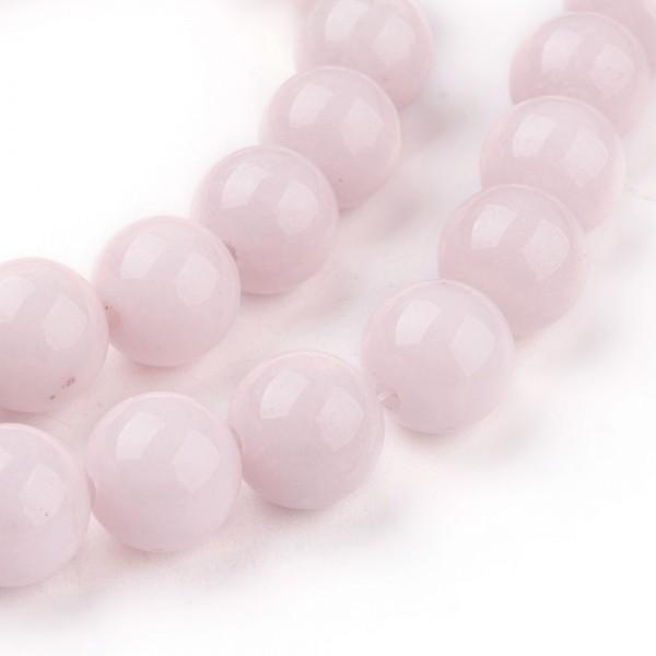 50 natürliche Mashan Jadeperlen rosa rund glatt glänzend